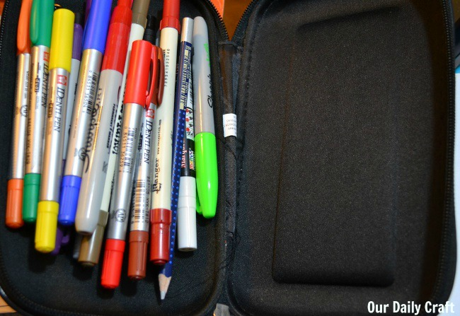 pens in pencil box