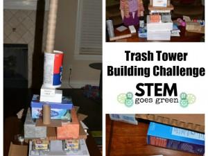 trash tower building STEM activity