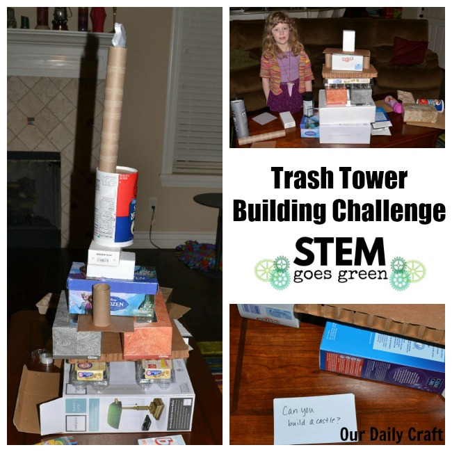 trash tower building STEM activity