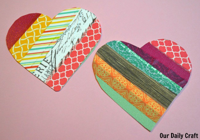 washi tape craft heart shapes