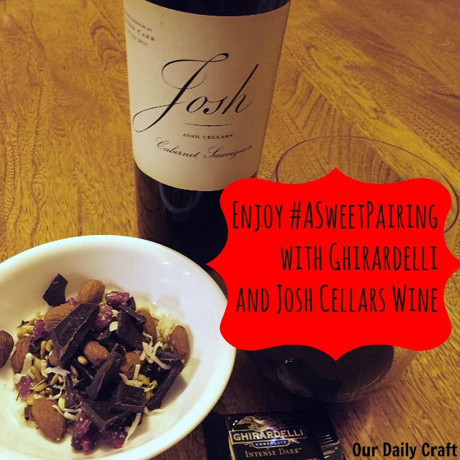 Make any day #ASweetPairing with dark chocolate snack mix and wine.