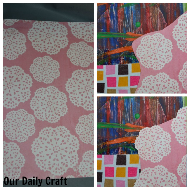 using scrapbook paper to cover an artistic mistake