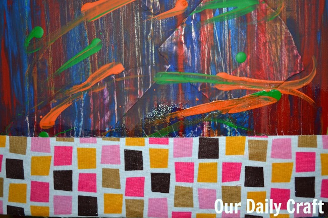 fabric scraps on canvas