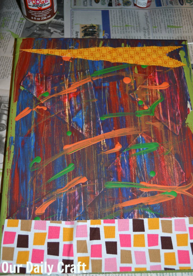 slow art fabric scraps canvas