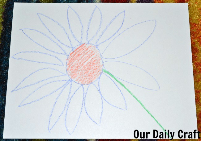 flower drawing crayon