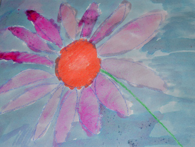flower painting with crayons and watercolors