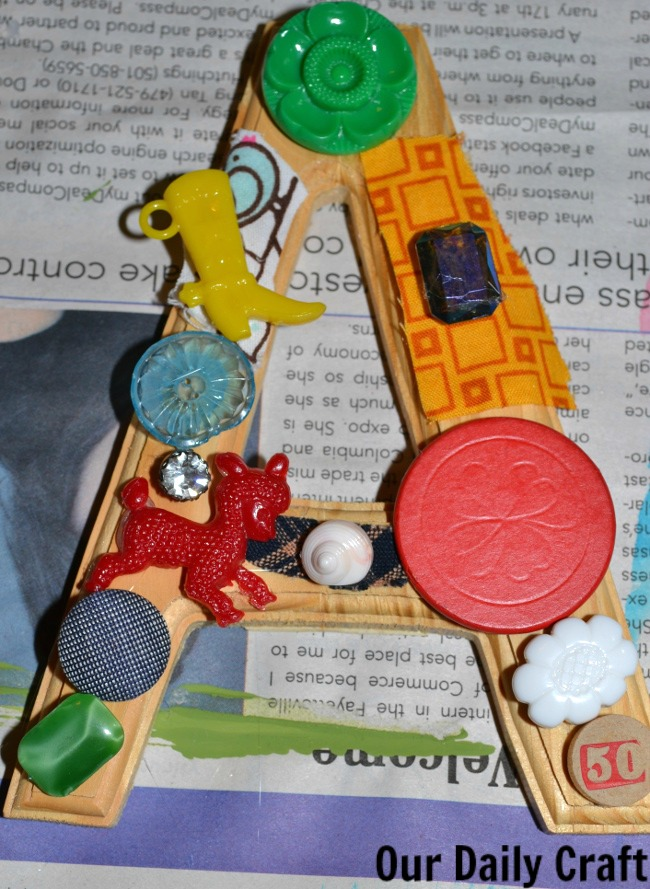 junk drawer collage letter A