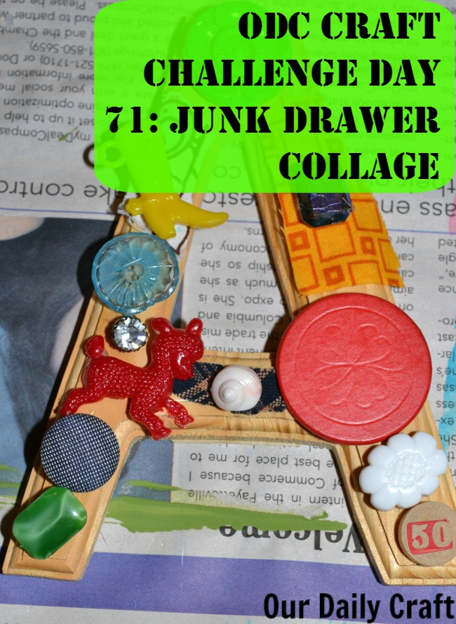junke drawer collage is a great way to use up little leftover whatever from craft projects.