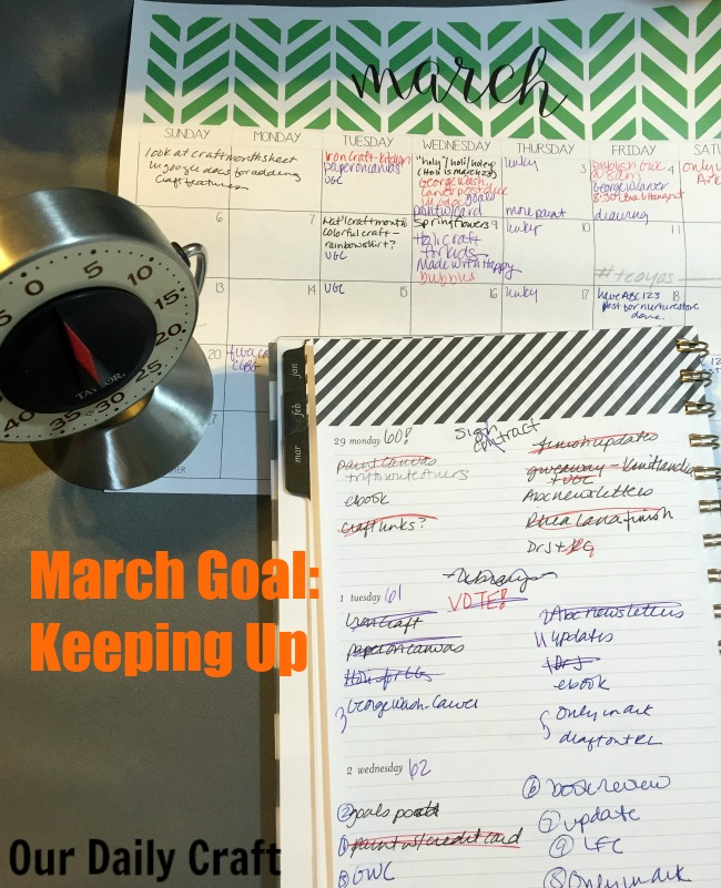 My goal for March is trying to keep up. What's yours?