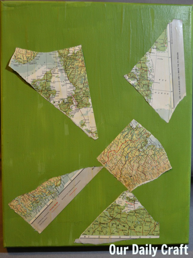 mod podge paper on canvas