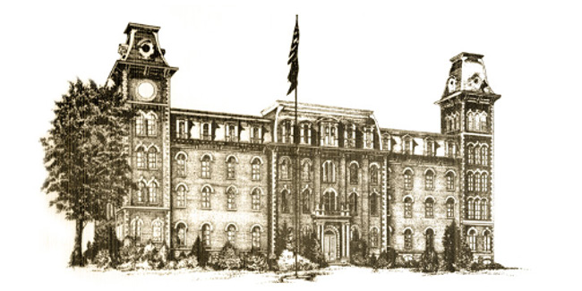 drawing of old main, via University of Arkansas