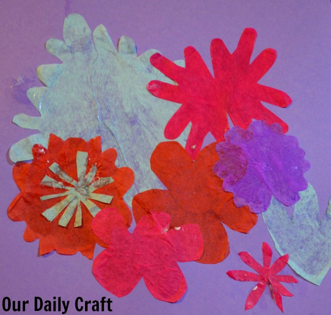 glued down tissue paper flower collage