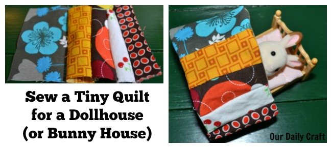 Sew a tiny quilt for a doolhouse bed.