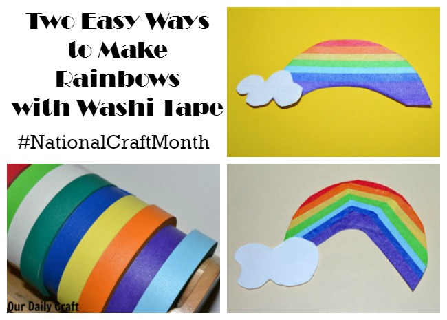 Two easy ways to make a washi tape rainbow