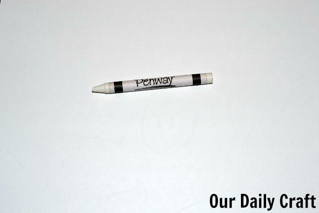 white crayon drawing