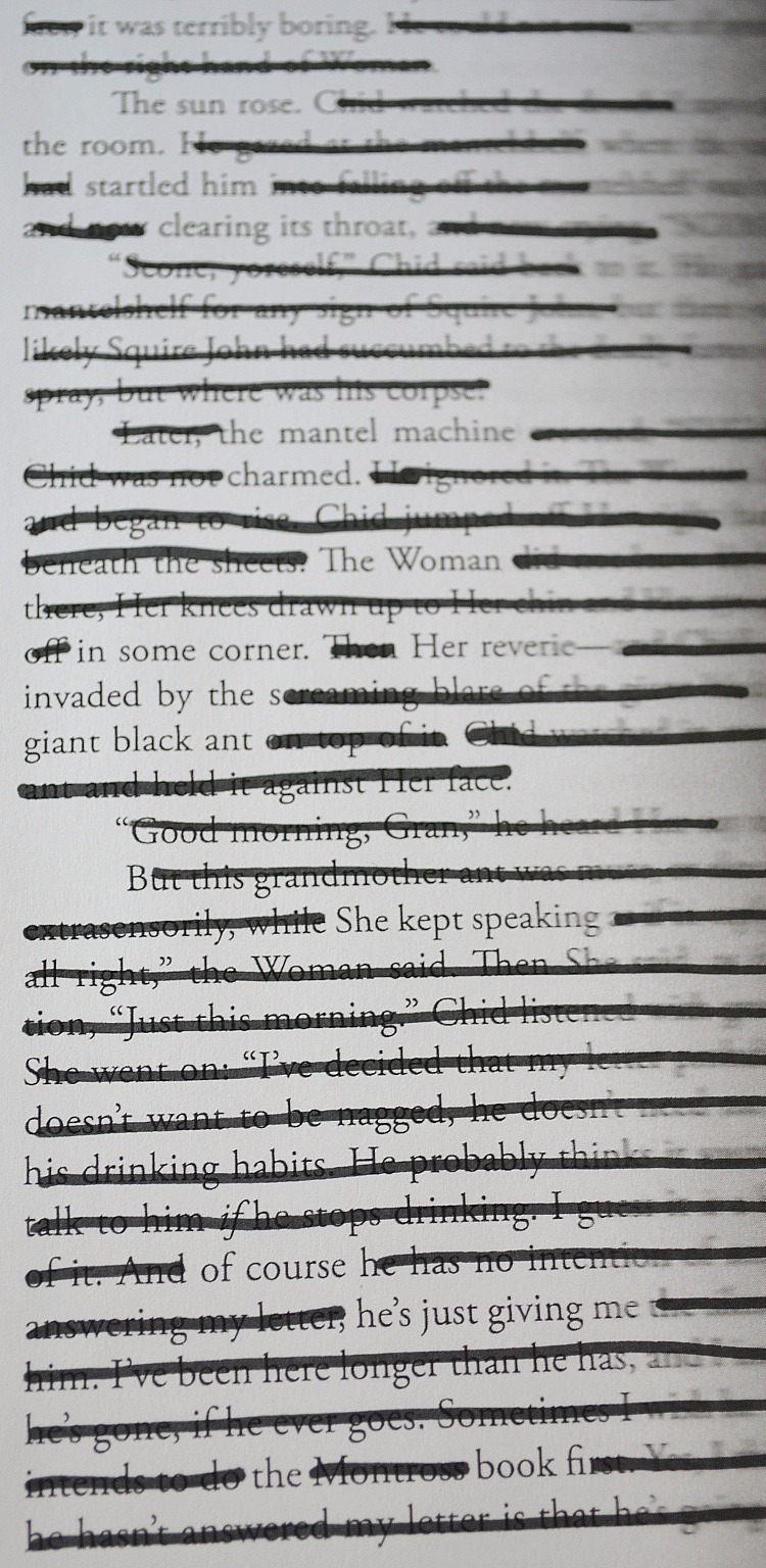 blackout poetry from a book page