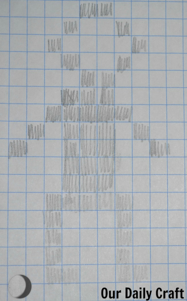 person drawn on grid paper