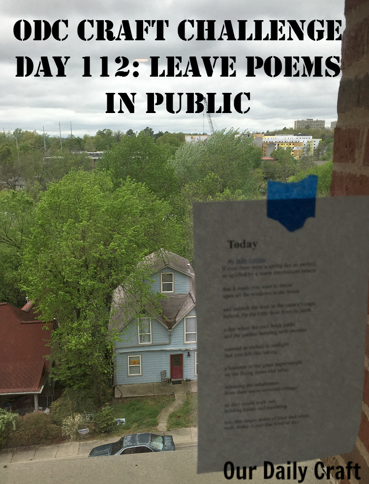 Do a poetry bombing by leaving poems in public