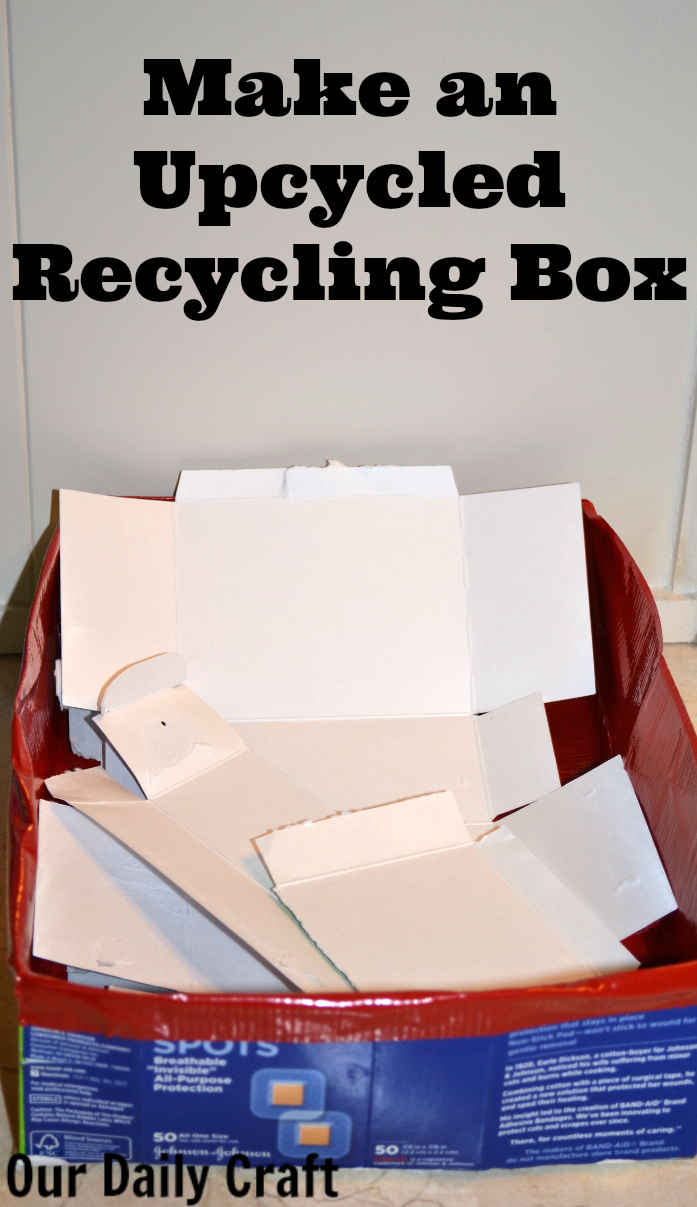 upMake an upcyled recycling box out of paperboard boxes.cycled recycling box