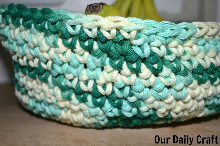 side of crocheted basket