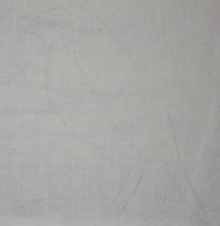 pencil drawing on fabric