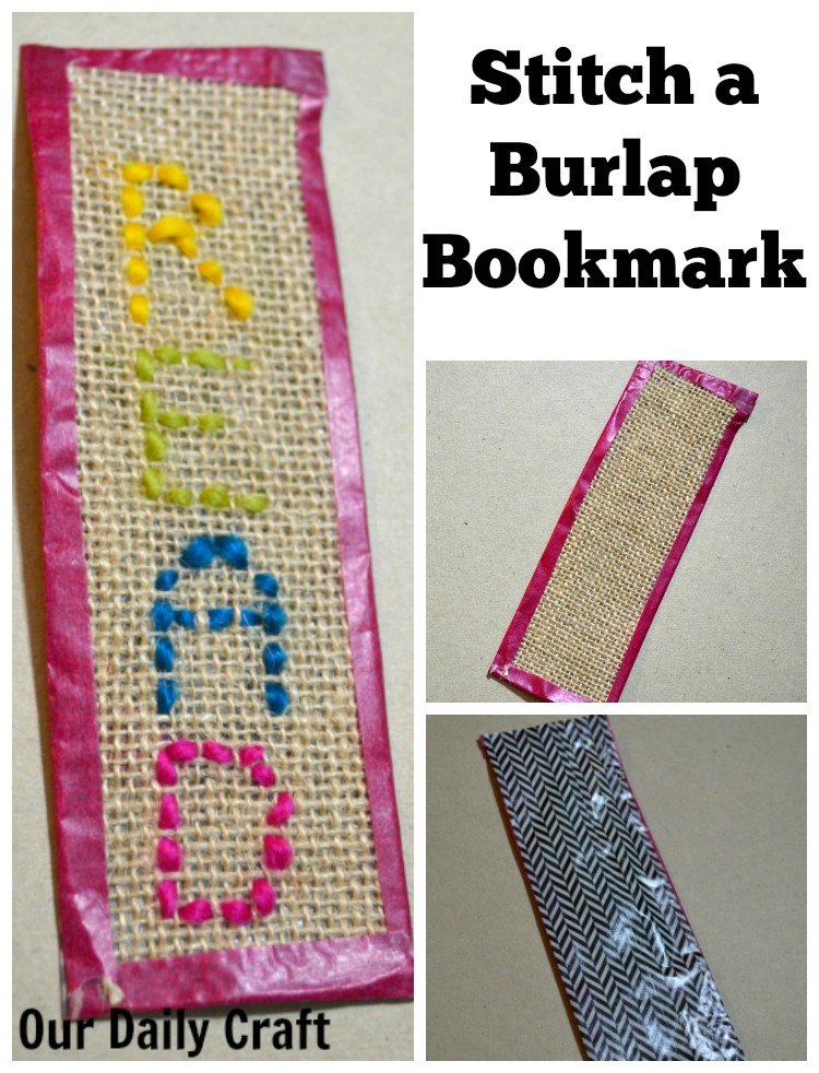This easy stitched burlap bookmark idea is great for kids learning to sew and adults to make as well.