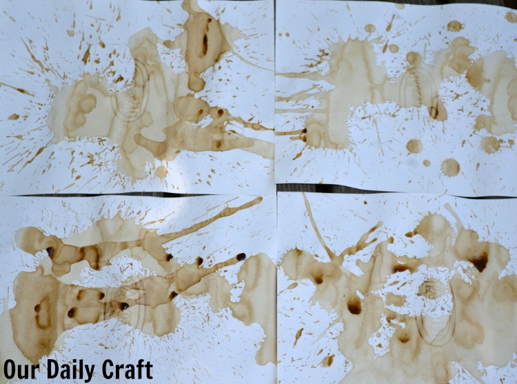 drying coffee stained paper