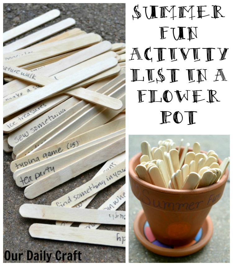 Need a great summer fun activity list for the kids? I made mine on craft sticks and put them in a painted flower pot.