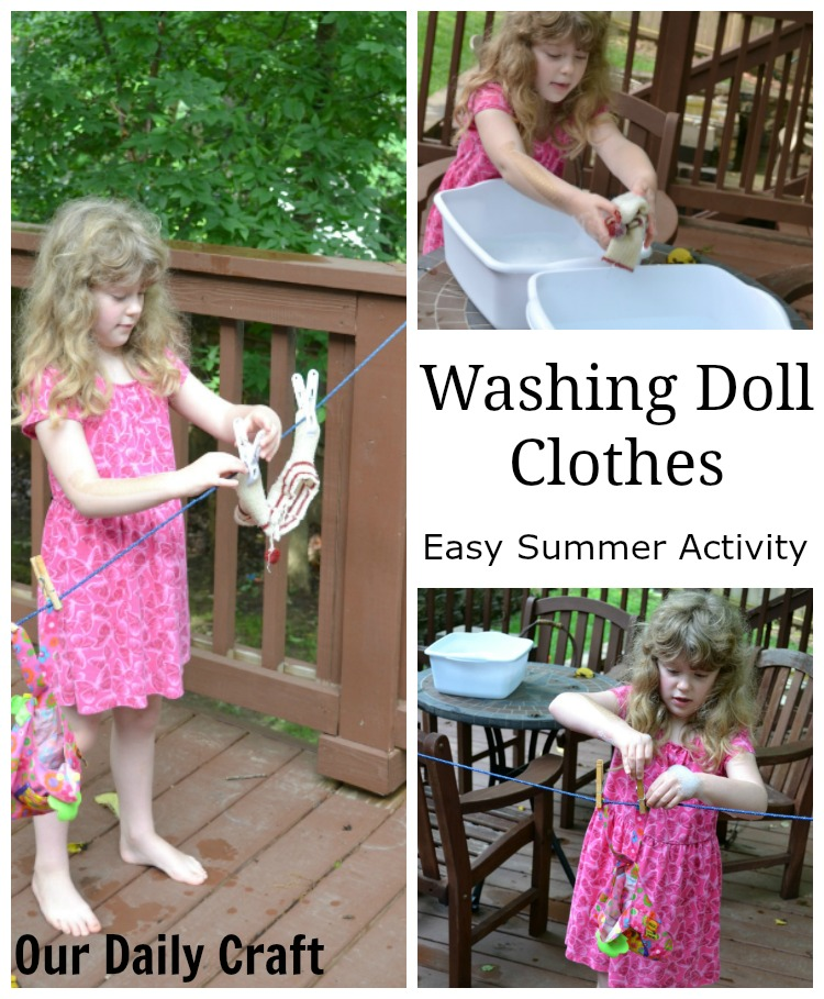 Washing Doll Clothes: An Easy Summer Activity