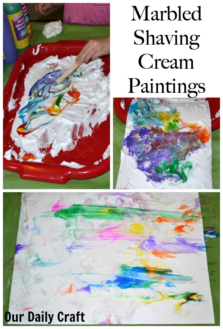 Marbled Paintings with Shaving Cream