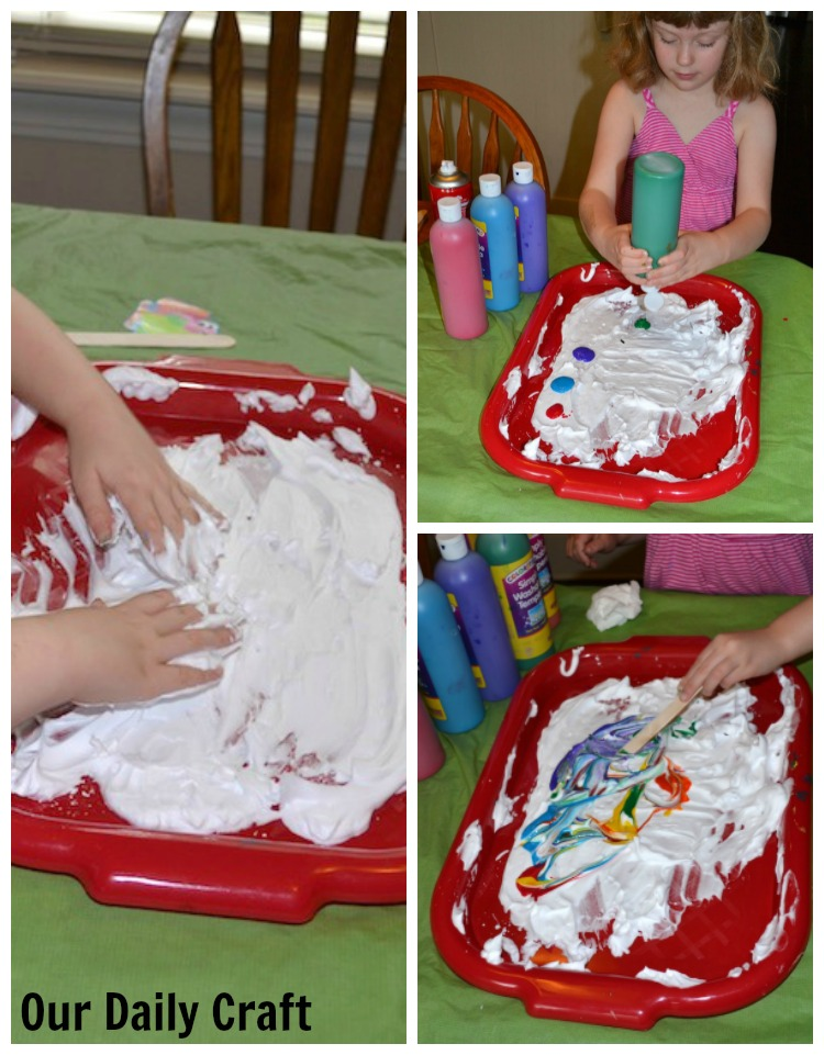 making marbled paintings with shaving cream