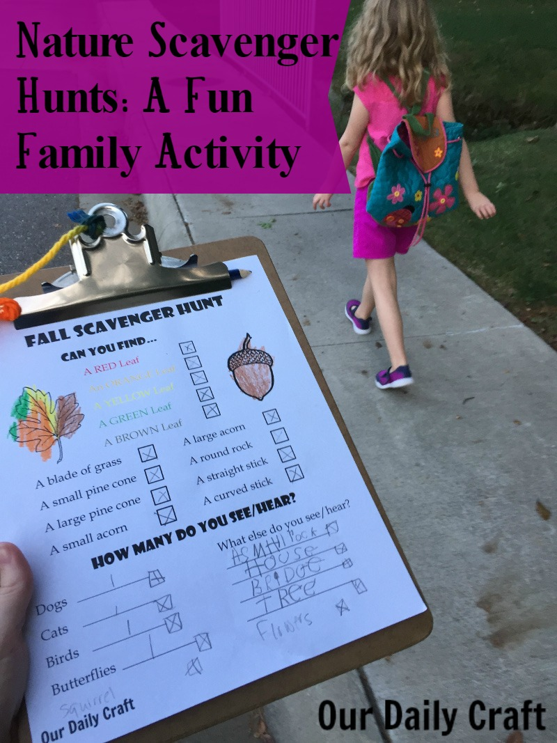 Ideas for nautre scavenger hunts, a fun family activity.