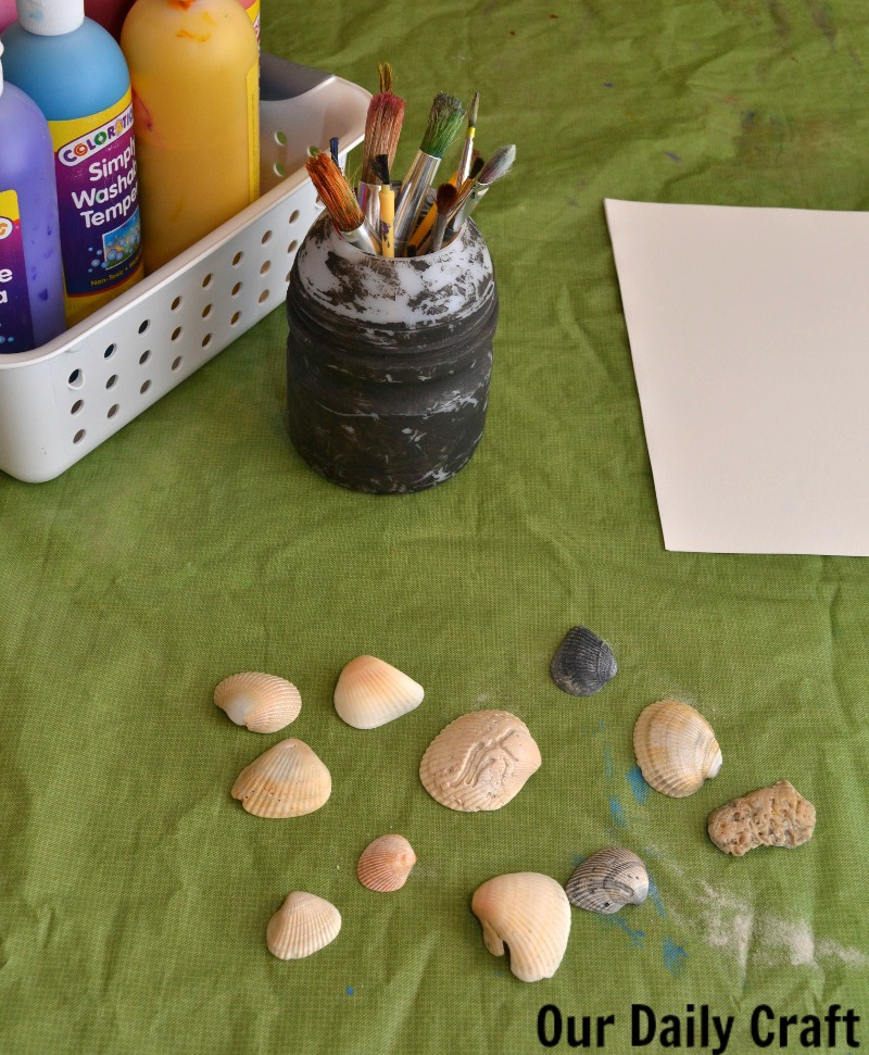 Supplies for painting with and on shells