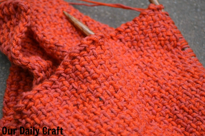 linen stitch cowl knitting orange challenge