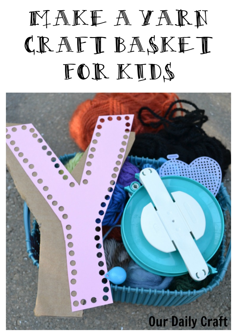 Make a yarn craft basket for kids to explore yarn.