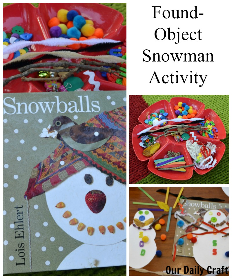 Celebrate winter with a found-object snowman activity inspired by the book Snowballs.