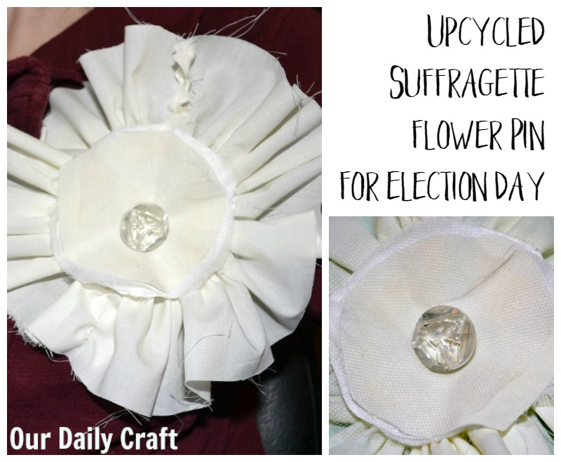 Make an upcycled suffragette flower pin for election day.