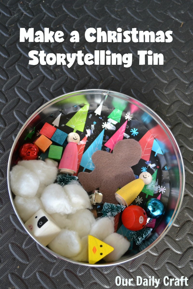 Make a Christmas storytelling tin to encourage children to tell stories.