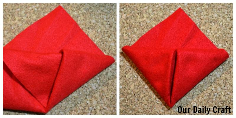 Make a felt origami Valentine bag or decoration.