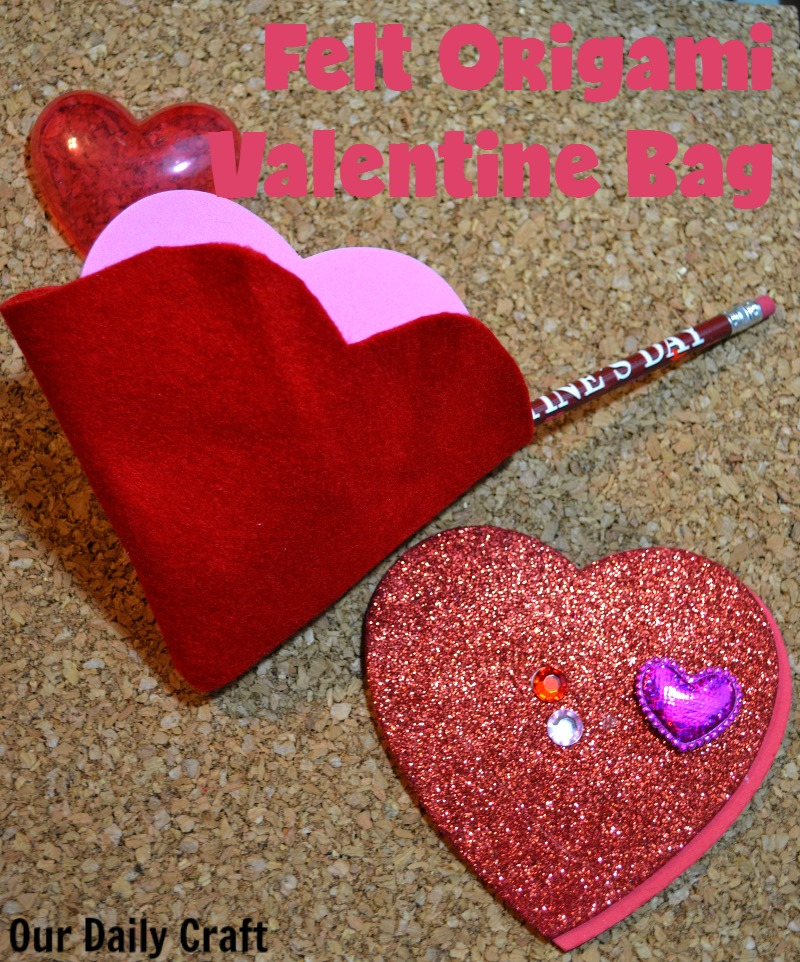 Make a felt origami Valentine bag or decoration.
