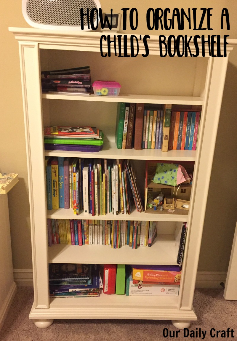 Tips for how to organize a child's bookshelf.