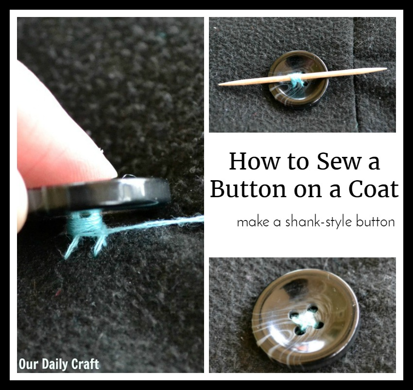 How to sew a button on a coat so it will stay on.