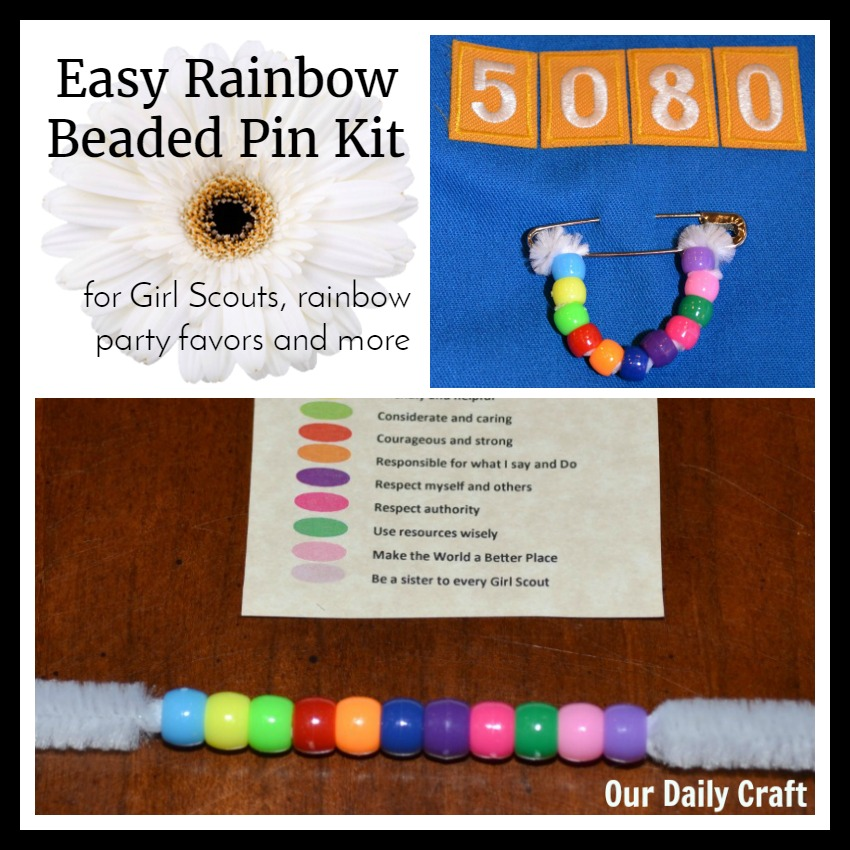 Rainbow beaded pin kit DIY for Daisy Girl Scouts, rainbow parties and more.