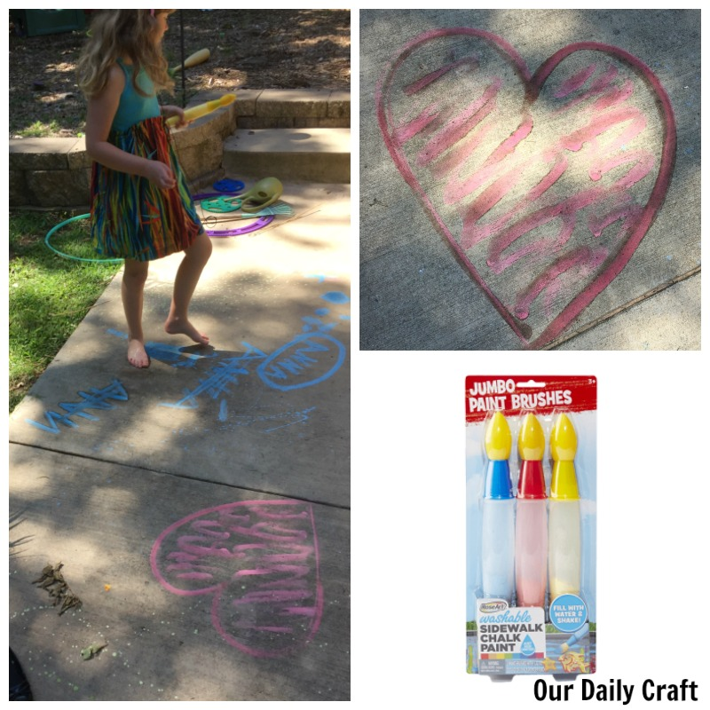 Have fun in the sun and create big art with your kids with RoseArt chalk paint products.