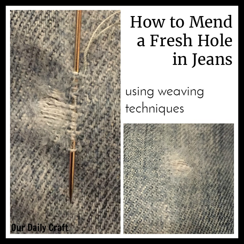 Mend a Fresh Hole in Jeans with Weaving