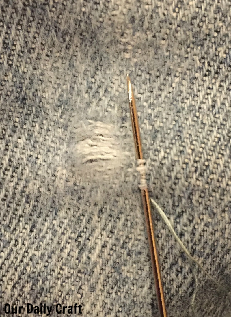 How to mend a fresh hole in jeans with weaving.