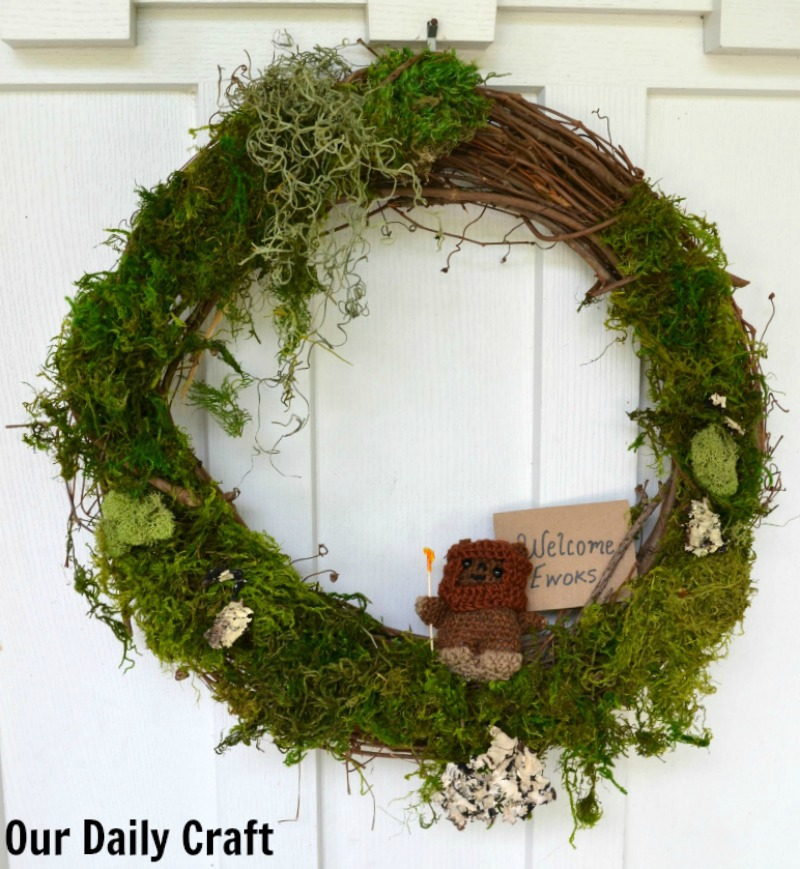 Make an easy Endor-inspired door wreath for a Star Wars party.