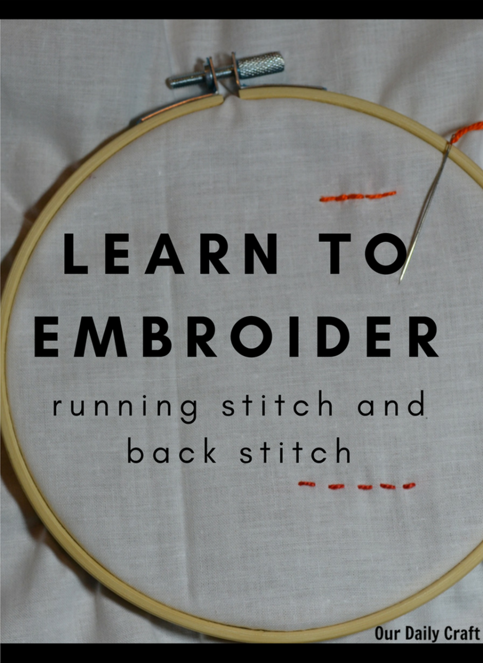 Learn to embroider with basic embroidery sttiches running stitch and back stitch