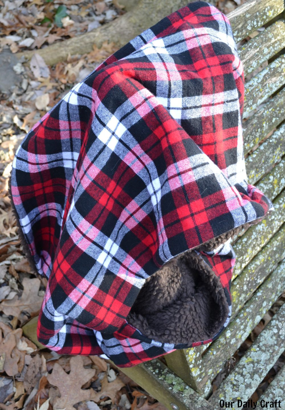 Sew an Infinity Scarf with Sherpa Fabric and Plaid Flannel
