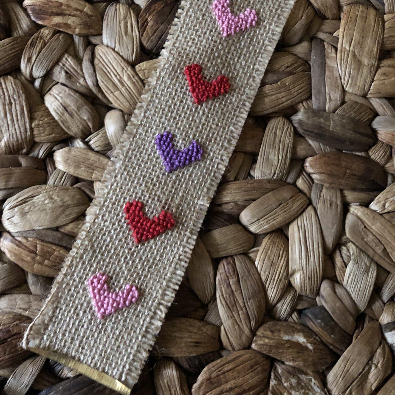 Make a Cross Stitch Heart Bookmark